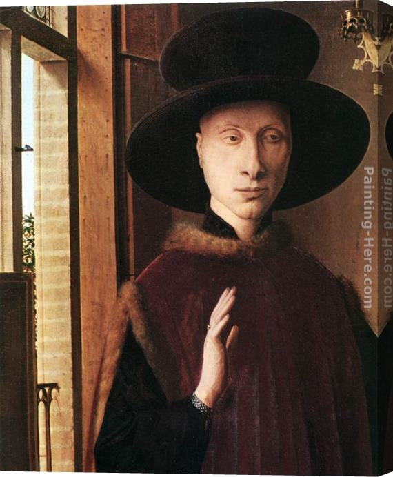 Jan van Eyck Portrait of Giovanni Arnolfini and his Wife [detail 1] Stretched Canvas Painting